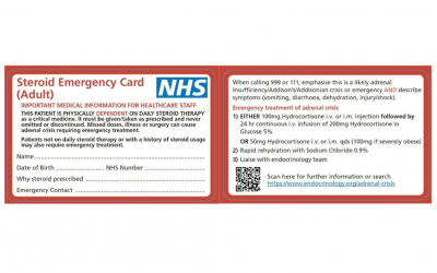 Updated NHS Steroid Card Released